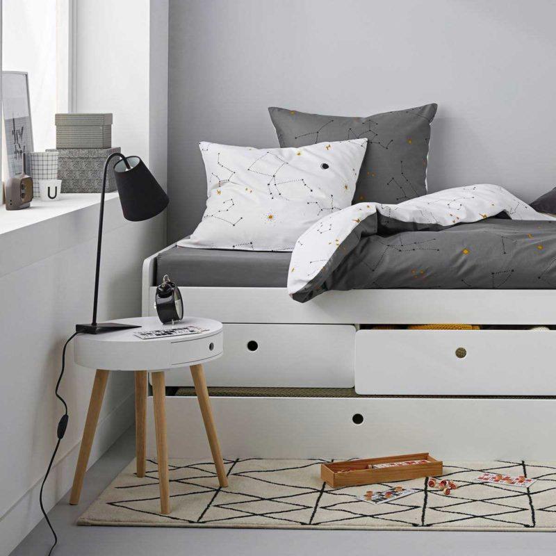 Table de chevet ronde avec tiroir