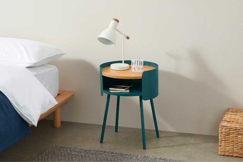 Table de nuit ronde bleu carnard