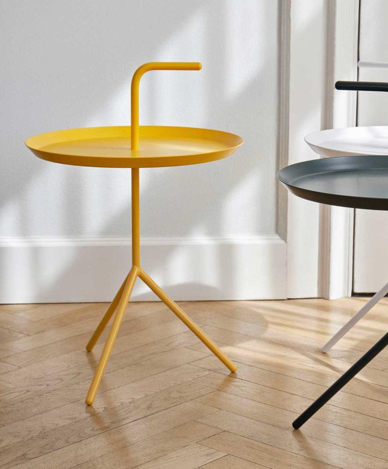 Table de nuit ronde jaune
