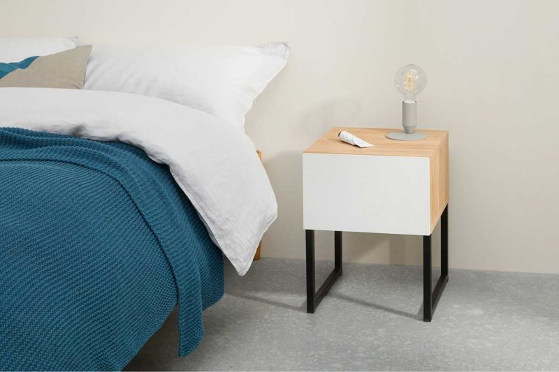 Table nuit moderne bois blanc noir
