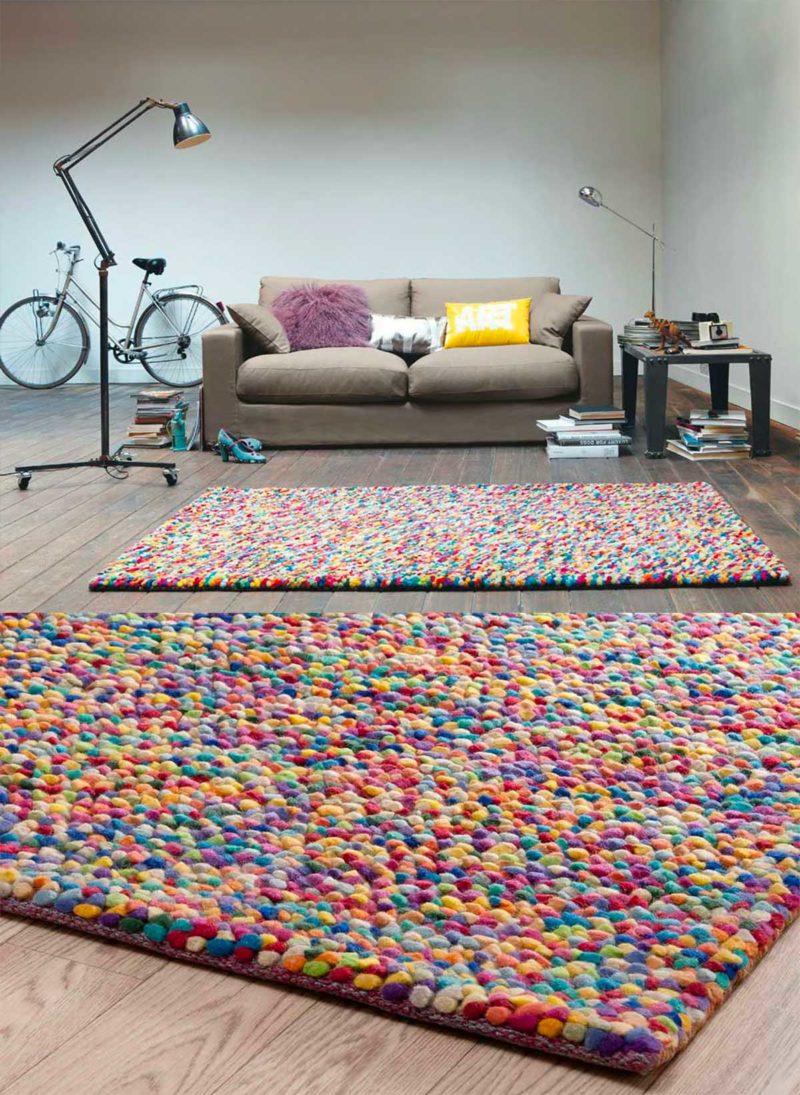 Tapis design multicolore en laine