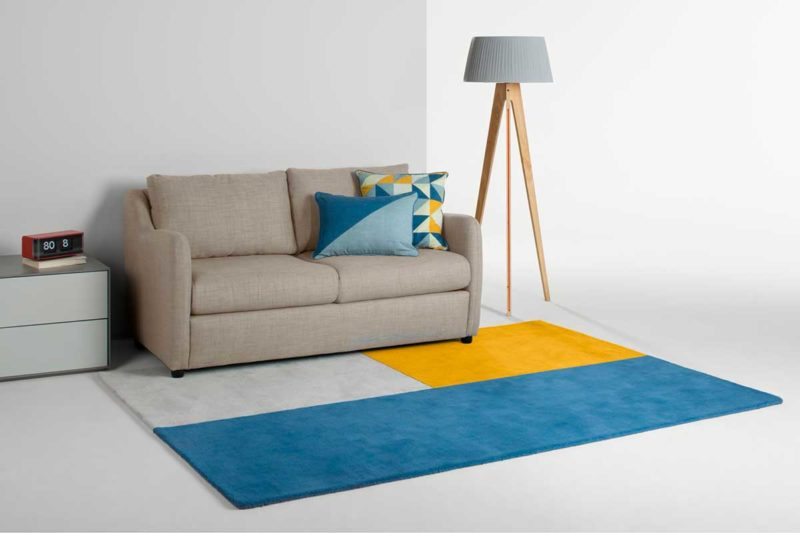 Tapis tufté design bleu gris et jaune