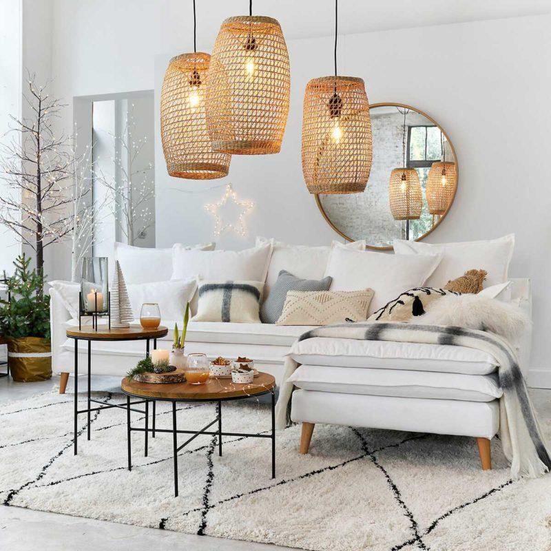 Canapé angle blanc déhoussable en lin