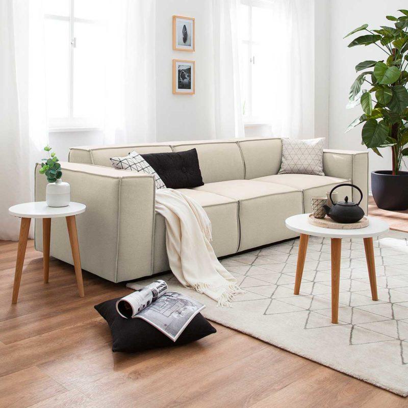 Canapé écru 3 places avec assise ultra confortable