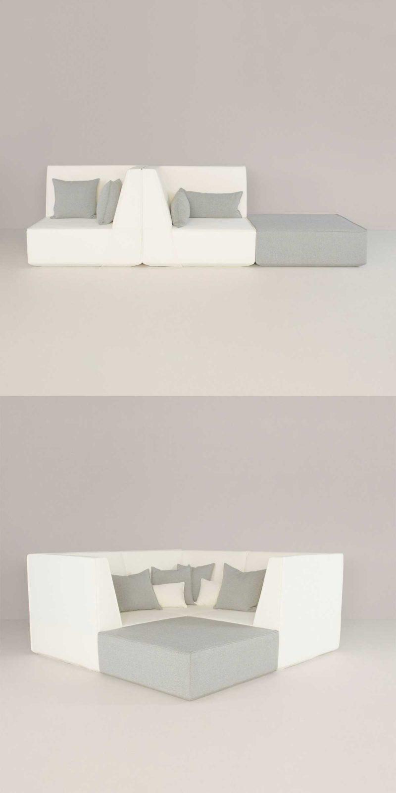 Canapé modulable gris et blanc