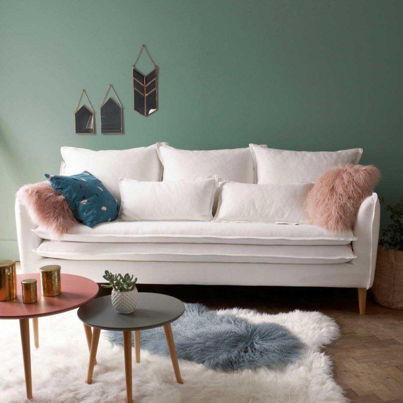 Déco esprit scandinave avec canapé en lin blanc