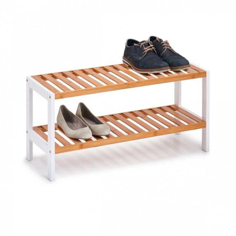 Petit meuble à chaussures blanc et bois