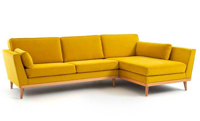 Canapé bois jaune esprit vintage