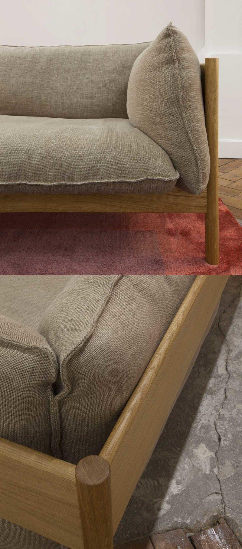 Canapé trois places en chêne et lin