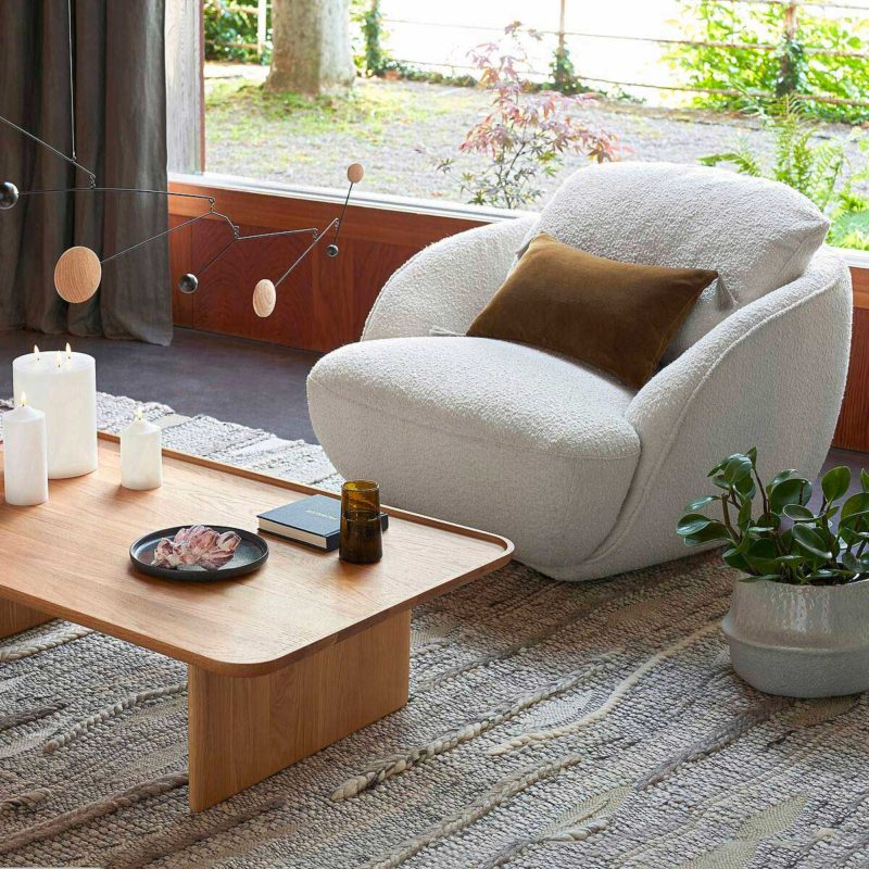Fauteuil crapaud bouclette style seventies