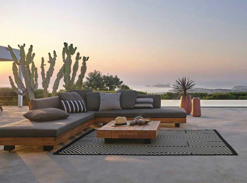 Grand canapé bois pour extérieur